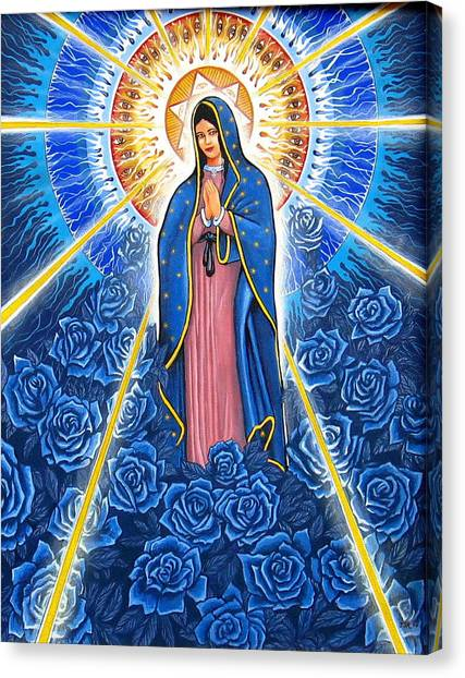 Virgin Of The Blue Roses Canvas Print