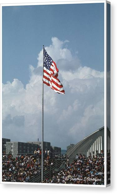Virginia Polytechnic Institute And State University Virginia Tech Canvas Print - Virginia Tech Lane Stadium Flag by Jonathan Whichard