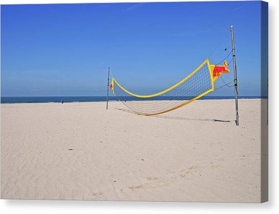 Volleyball Canvas Print - Volleyball Net On Beach by Leuntje