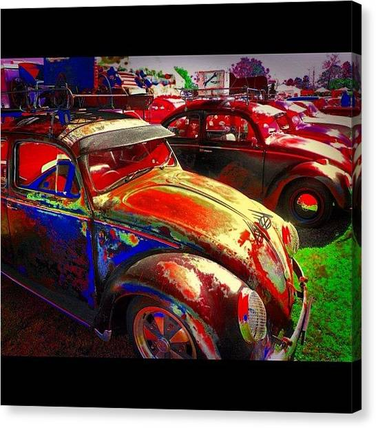 Volkswagen Canvas Print - Vw Bugs @ Greazefest by Avril O