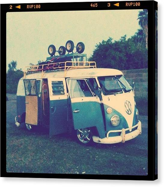 Vw Bus Canvas Print - #vw #vintage #safari #lowered #bus by CactusPete AZ
