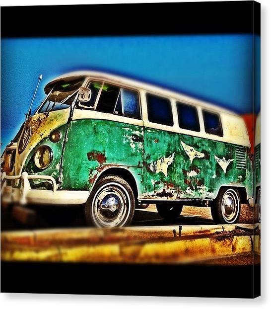 Vw Bus Canvas Print - #vw #volkswagon #bus #patina #vintage by CactusPete AZ