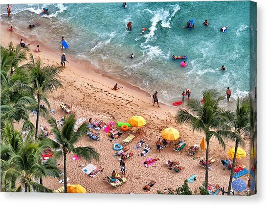 Waikiki Beach Aerial 1 Canvas Print
