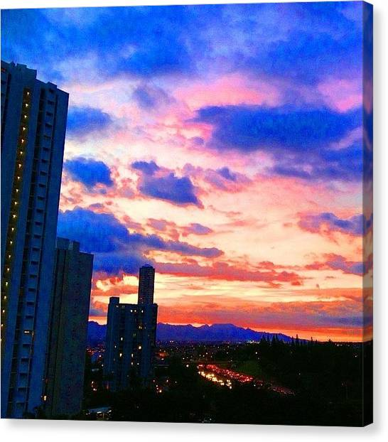 Satellite Canvas Print - #waikiki #palmtree #paradise #sky by Andy Walters