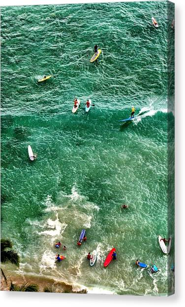Waikiki Surfing Canvas Print
