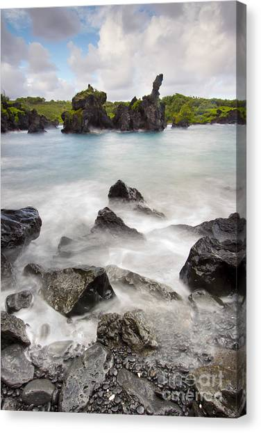 Black Sand Canvas Print - Wainapapa State Park Hana Maui Hawaii by Dustin K Ryan