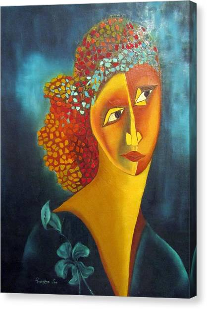 Limelight Canvas Print - Waiting For Partner Orange Woman Blue Cubist Face Torso Tinted Hair Bold Eyes Neck Flower On Dress by Rachel Hershkovitz