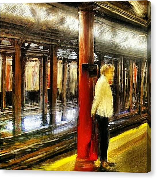 Brush Canvas Print - #waiting For The #1 #train.  #newyork by Antonio DeFeo