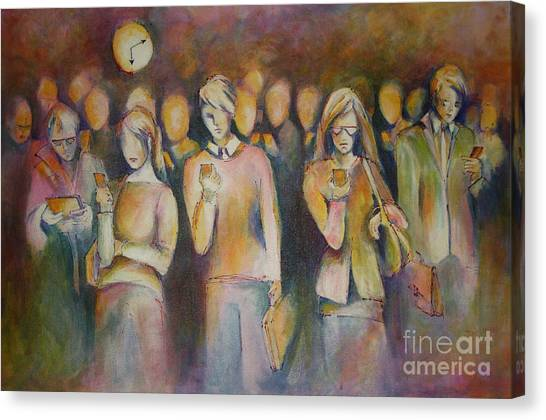 Waiting For The 6 15 Train Canvas Print by Sandra Taylor-Hedges