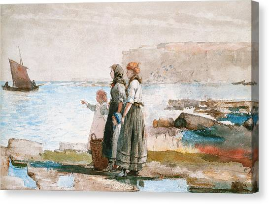 Anxious Canvas Print - Waiting For The Return Of The Fishing Fleets by Winslow Homer