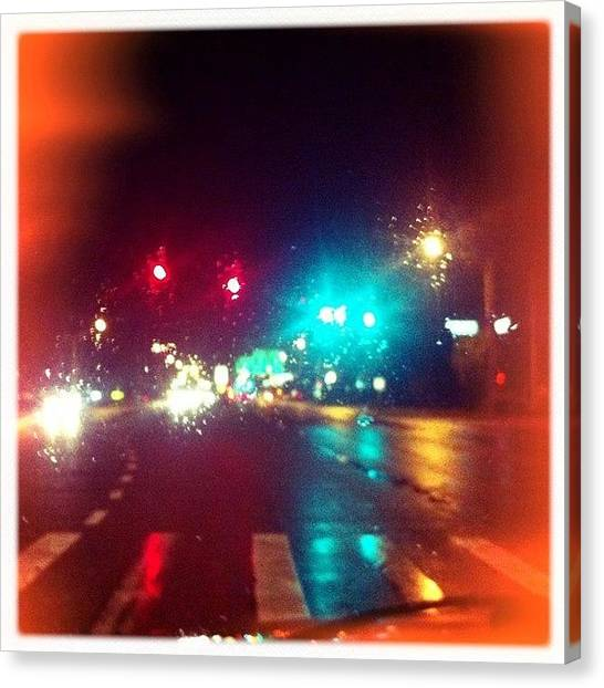 Stoplights Canvas Print - Waiting For The Stoplight To Change by James Roberts