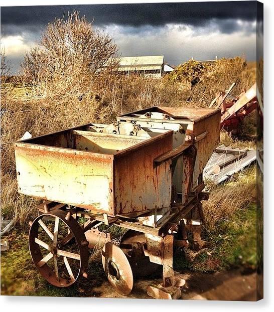 Machinery Canvas Print - Waiting... #grey #gold #farm #farming by Robert Campbell