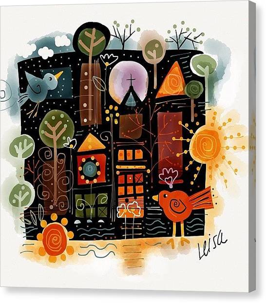 Temples Canvas Print - Walk Down Main Street by Leisa Artus