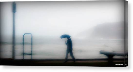 Walking In The Rain Canvas Print by Christoph Mueller