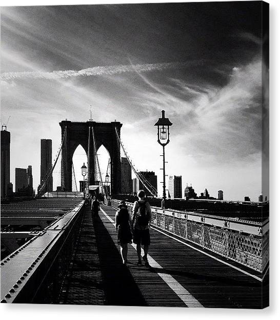 Black And White Canvas Print - Walking Over The Brooklyn Bridge - New York City by Vivienne Gucwa
