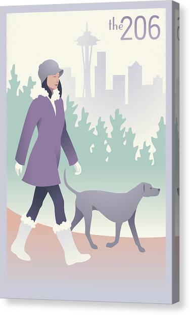 Seattle Canvas Print - Walking The Dog In Seattle by Mitch Frey