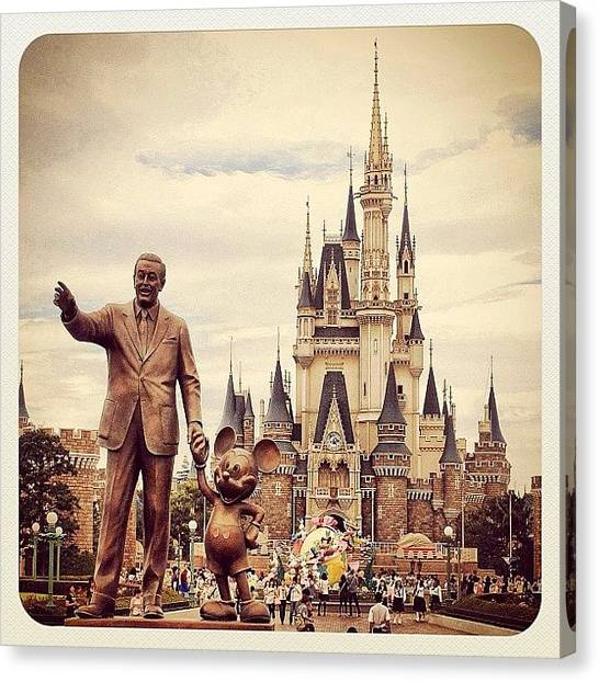 Mice Canvas Print - Walt Disney And Mickey Mouse by Michael Rivero