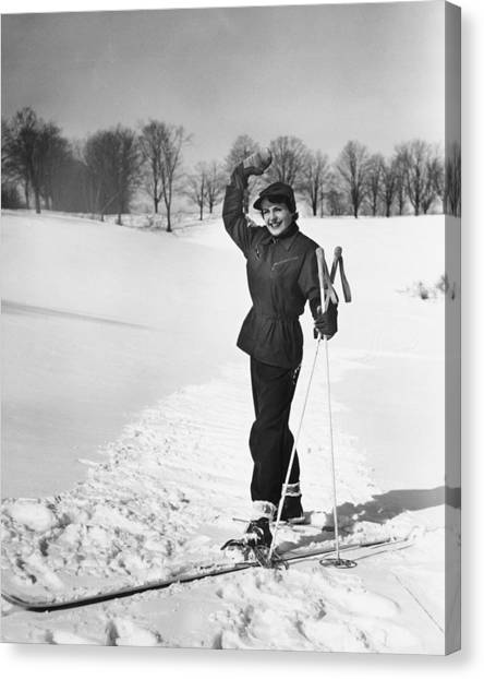 Wan Cross-country Skiing, Waving, (b&w) Canvas Print by George Marks