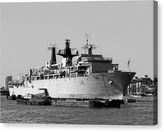 Royal Marines Canvas Print - Warship Hms Bulwark by Jasna Buncic