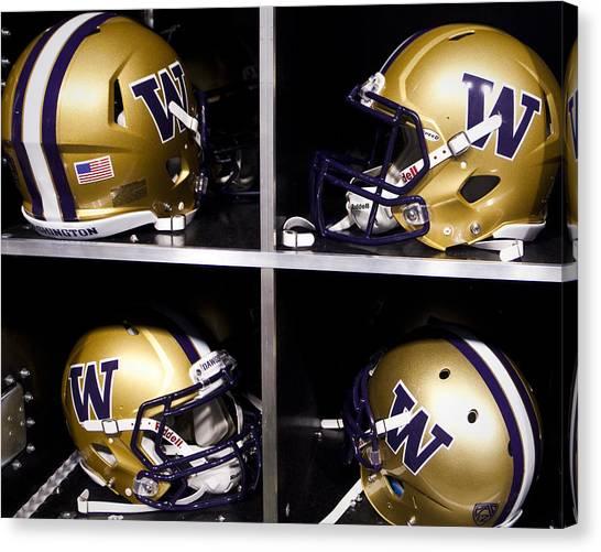 Pac 12 Canvas Print - Washington Huskies Football Helmets  by Replay Photos