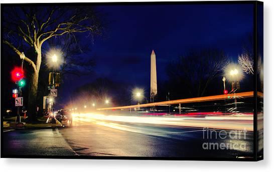Washington Monument On A Rainy Rush Hour Canvas Print