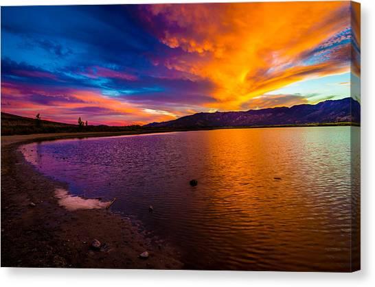 Lake Sunsets Canvas Print - Washoe Lake Nevada Sunset by Scott McGuire