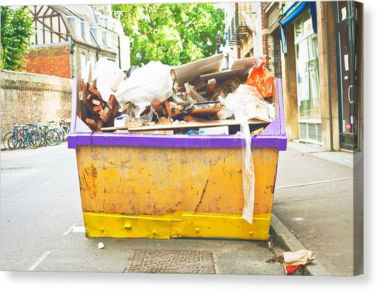 Rubbish Bin Canvas Print - Waste Skip by Tom Gowanlock