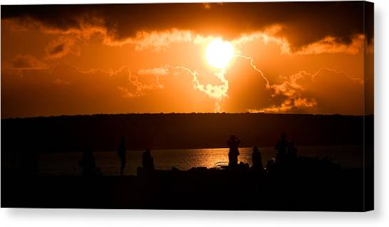 Canvas Print featuring the photograph Watching Sunset by Yew Kwang