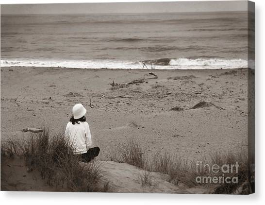 Watching The Ocean In Black And White Canvas Print