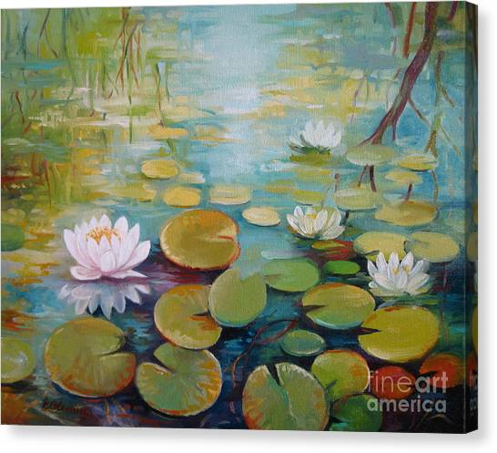 Water Lilies On The Pond Canvas Print