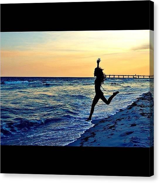 Bikini Canvas Print - #water #ocean #beach #sunset #jump by Brittany B