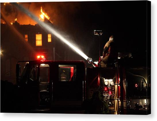 Water On The Fire From Pumper Truck Canvas Print