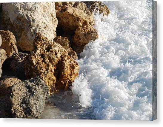 Water On The Rocks Canvas Print by Carrie Munoz