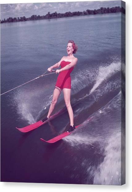 Water Skiing Canvas Print by Keystone