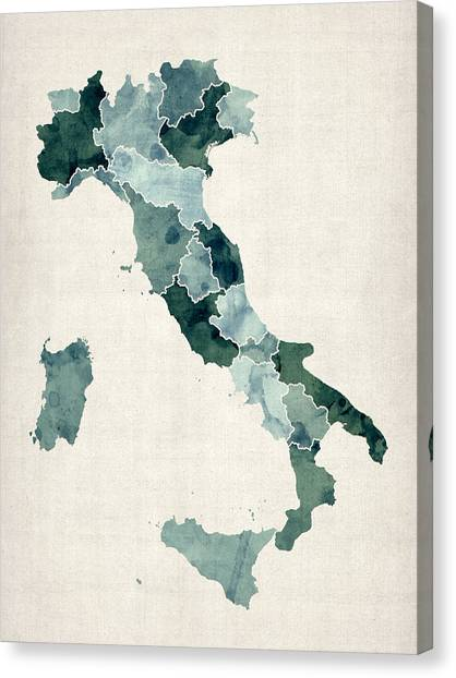 Europe Canvas Print - Watercolor Map Of Italy by Michael Tompsett
