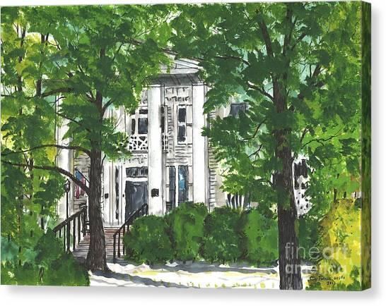 Watercolor Sketch Of Burt-stark Mansion Canvas Print