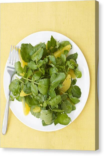 Watercress Canvas Print - Watercress Orange Salad by James Baigrie