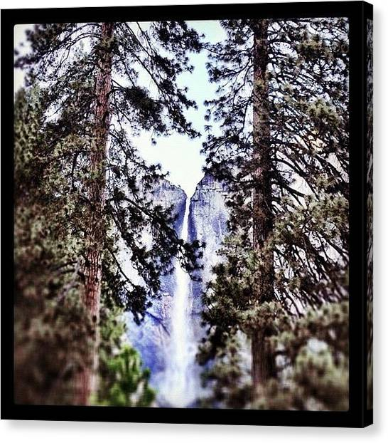 Waterfalls Canvas Print - #waterfall At #yosemite Framed Between by Travis Wright