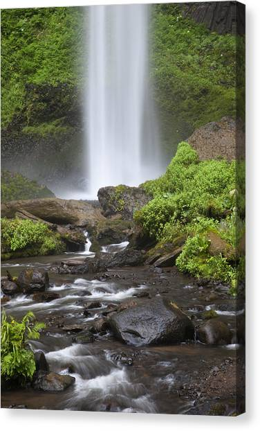 Waterfall In Gorge - Columbia River Gorge Canvas Print by John Gregg
