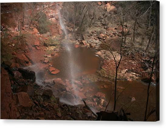 Waterfall In Zion Park Canvas Print