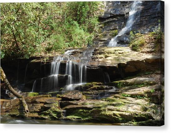 Waterfall Over Rocks Canvas Print by Carrie Munoz