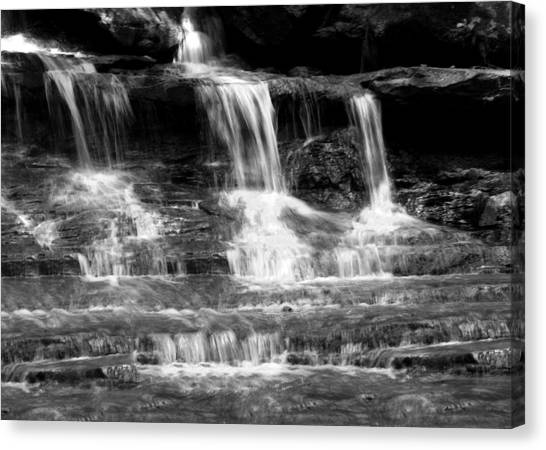 Waterfall Trio At Mcconnells Mill State Park In Black And White Canvas Print