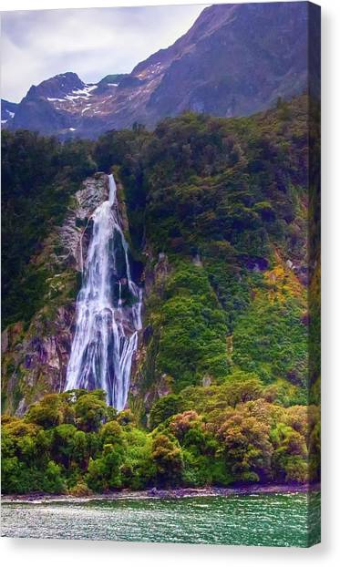 Waterfalls At Milford Sound Canvas Print