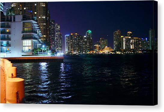 Waterfront By Night Canvas Print by Dieter  Lesche