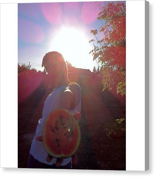 Watermelons Canvas Print - #watermelon #boy #sun by Zain Master