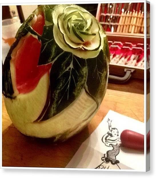Watermelons Canvas Print - Watermelon Carving by Albert Delacruz