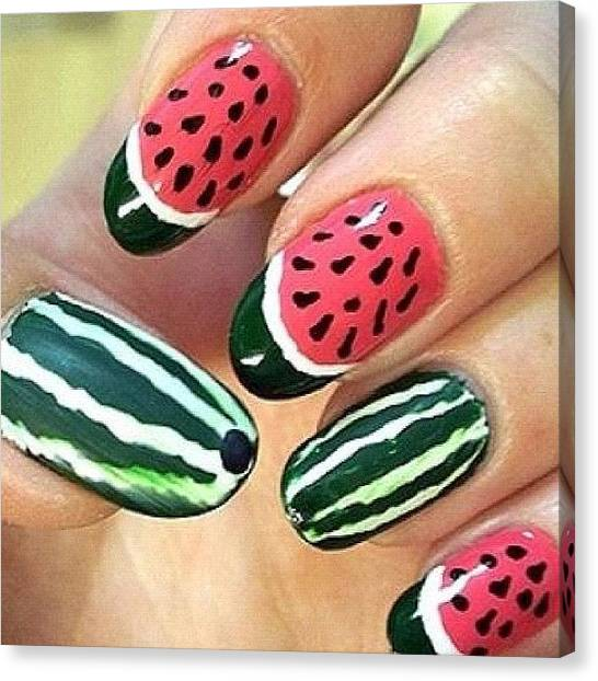 Watermelons Canvas Print - #watermelon #nail #nails #nailart #yum by Sophie D
