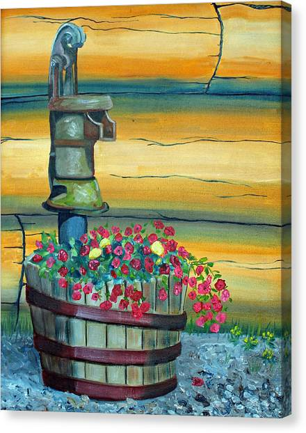 Waterpump And Petunias Canvas Print by Amy Reisland-Speer