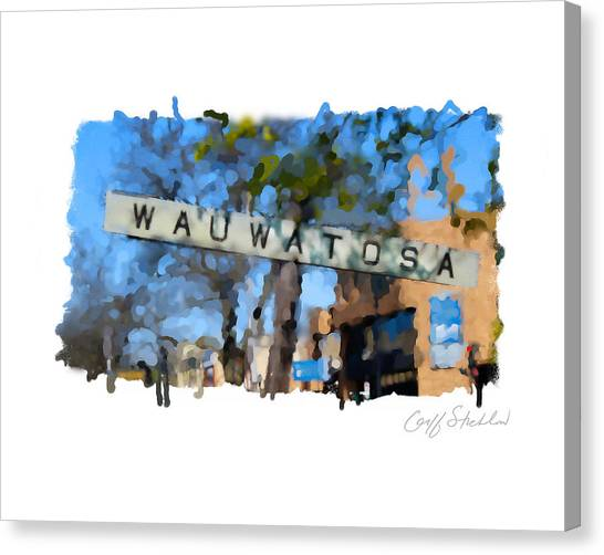 Wauwatosa Railroad Sign Canvas Print by Geoff Strehlow