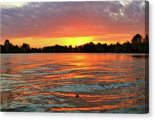 Waves And The Sun Canvas Print by Mike Stouffer